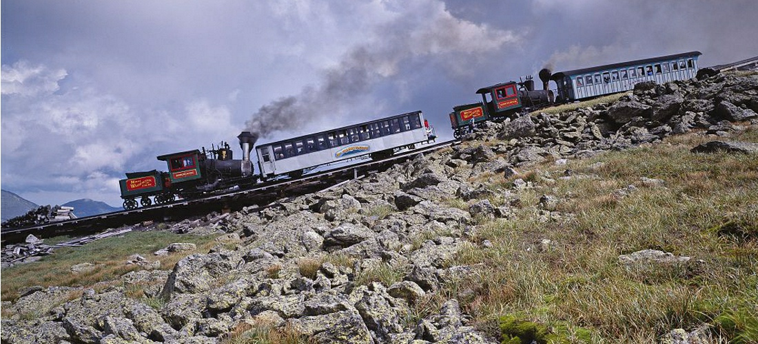 Mount Washington's cog railway is an incline railroad traveling to the top of the highest peak in the US Northeast.