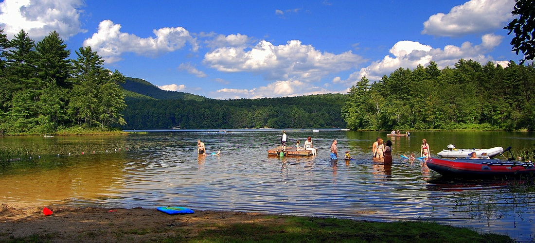 Crystal clear New Hampshire lakes provide for great family fun.