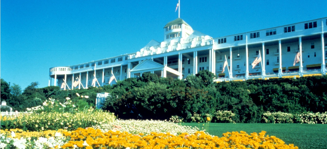 The Grand Hotel is a historic hotel and coastal resort located on Mackinac Island, Michigan, a small island located at the eastern end of the Straits of Mackinac within Lake Huron between the state's Upper and Lower Peninsulas.