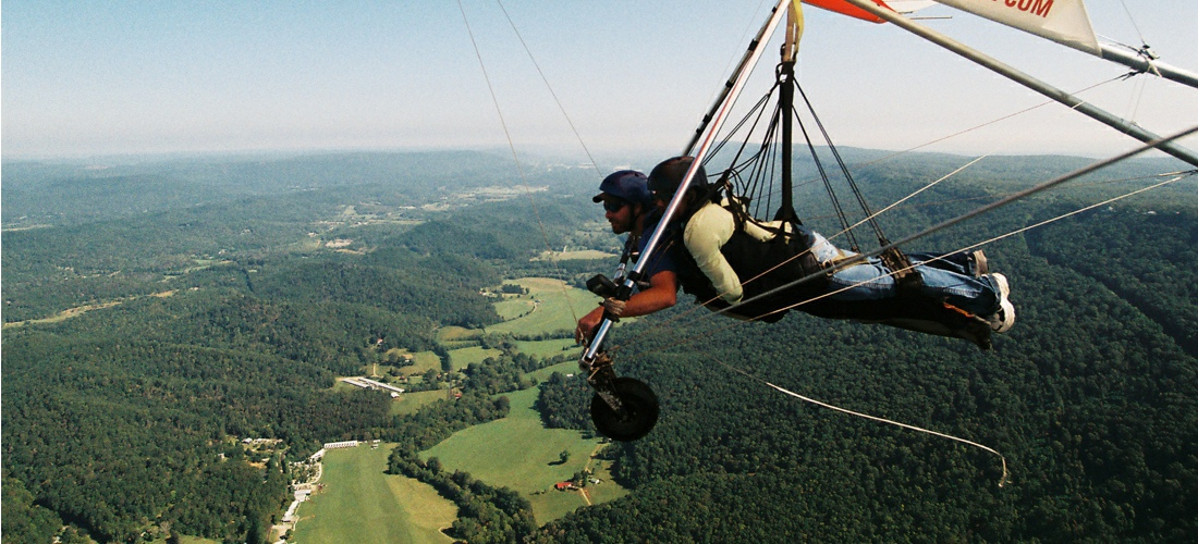 Hang gliding over the beautiful skies of Tennessee.